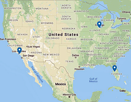 CL Coatings Industrial Paint and Coatings Company Locations Map